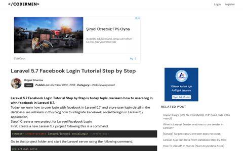 Laravel 5.7 Facebook Login Tutorial Step by Step - CoderMen