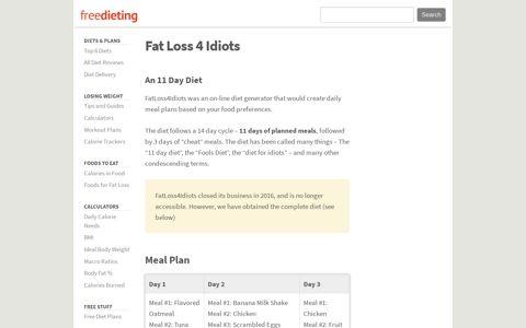 Fat Loss 4 Idiots Explained - Freedieting