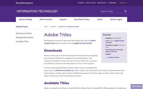 Adobe Titles: Information Technology - Northwestern University