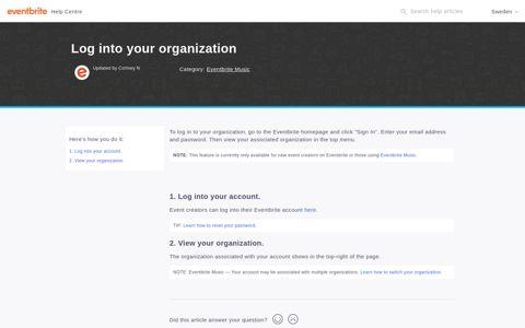 Log into your organization | Eventbrite Help Centre