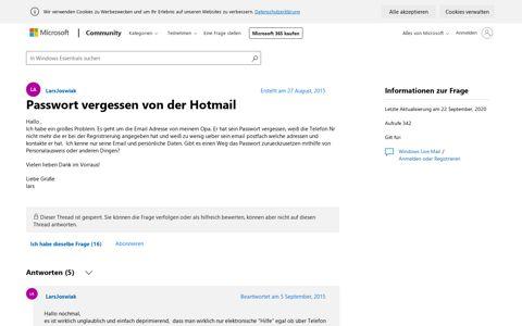 Passwort vergessen von der Hotmail - Microsoft Community