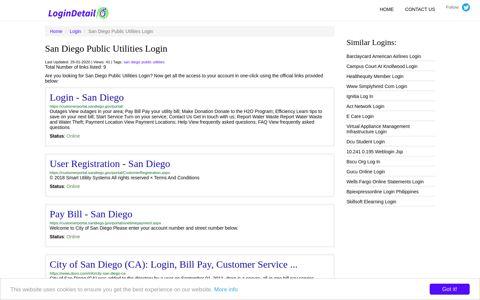 San Diego Public Utilities Login Login - San Diego - https ...