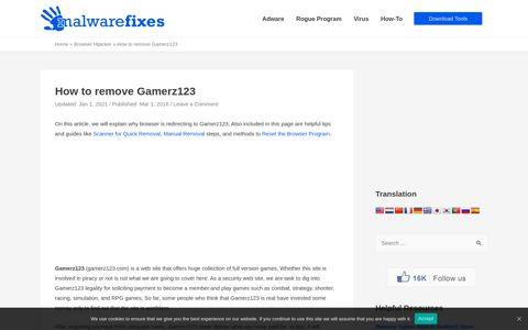 How to remove Gamerz123 - MalwareFixes