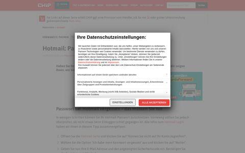 Hotmail: Passwort vergessen - was tun? - CHIP