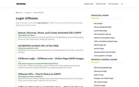 Login Gifboom ❤️ One Click Access - iLoveLogin