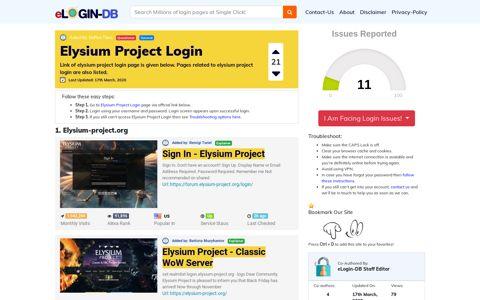 Elysium Project Login