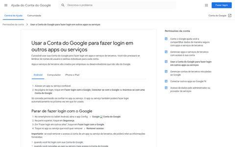 Usar a Conta do Google para fazer login em outros apps ou ...
