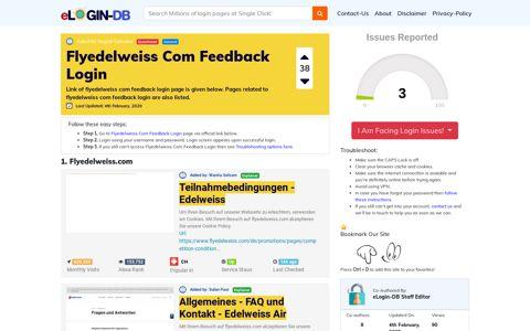 Flyedelweiss Com Feedback Login